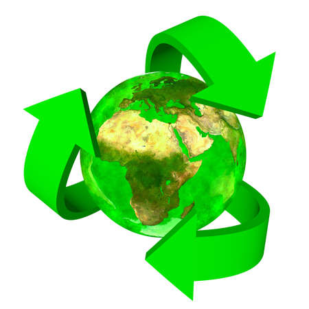 Green Earth eco symbol - Europe Africa and Asia Stock Photo - 18725466