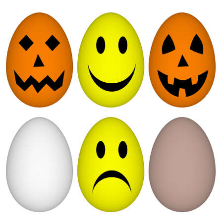 Eggs with easter and halloween smile - emoticon Stock Photo