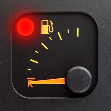 Red light - empty tank pointer Stock Photo