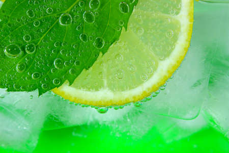 Lemon slice, mint leaf, soda and ice