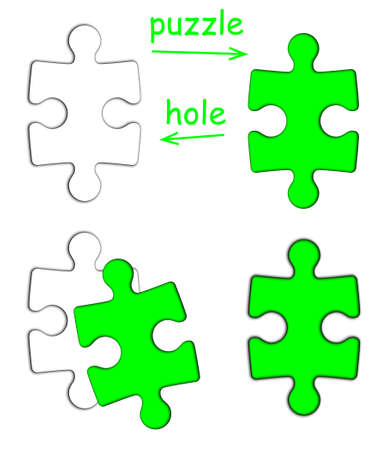 Puzzle piece and puzzle hole isolated on white background Stock Photo