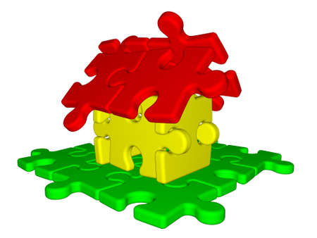 Illustration of house made from puzzle isolated on white background