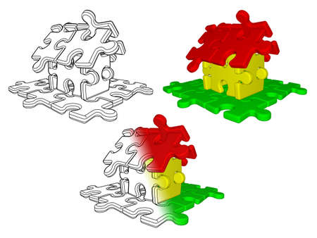 Sketch and illustration of house building from puzzle isolated on white background