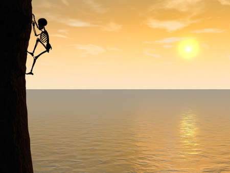 Illustration of skeleton climber silhouette hanging on rock Stock Photo
