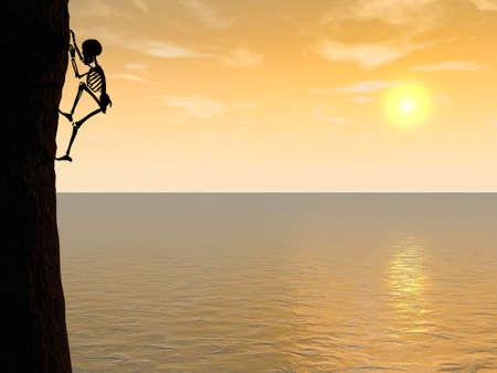 Illustration of skeleton climber silhouette hanging on rock Stock Photo