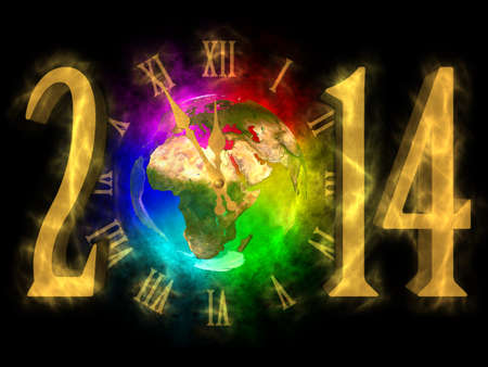 Happy new year 2014 - Europe, Asia and Africa photo