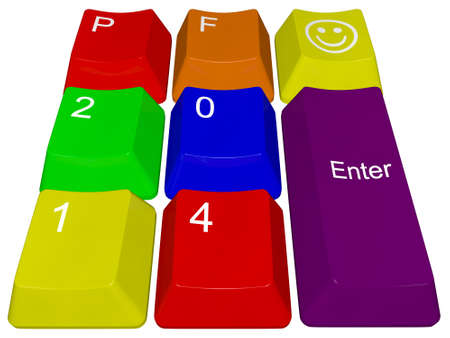 pour feliciter: Happy new year 2014 - pc keys PF 2014 Stock Photo