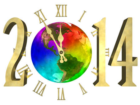 Rainbow planet Earth, cosmic clock and numbers 2014  Happy new year 2014 America