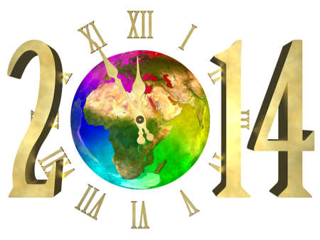 Rainbow planet Earth, cosmic clock and numbers 2014 - Happy new year 2014 Europe, Asia and Africa