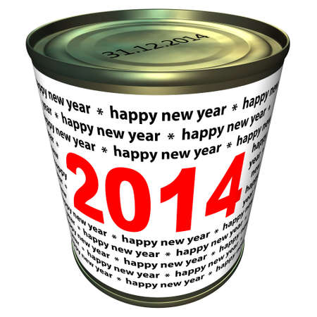 Happy new year 2014 - can with numbers 2014 Stock Photo