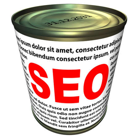 SEO  search engine optimization  - can of instant SEO Stock Photo