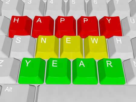 PC keys Happy New Year Stock Photo