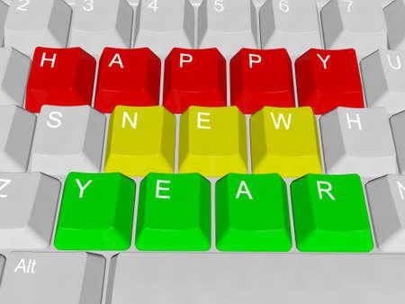 PC-toetsen Gelukkig Nieuwjaar Stockfoto