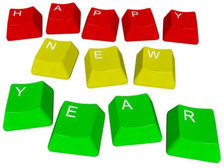 Illustratie van pc-toetsen Gelukkig Nieuwjaar