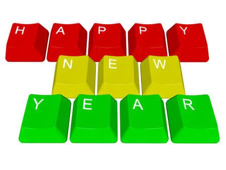 PC keys Happy New Year Stock Photo