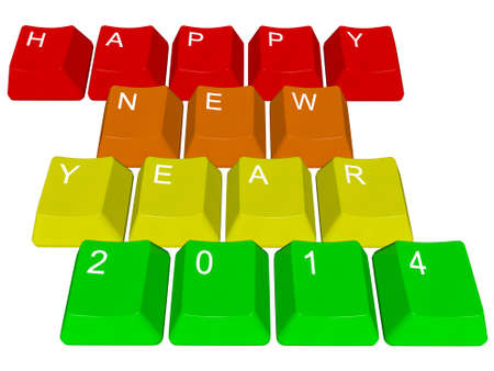pour feliciter: Happy New Year 2014 - pc keys Stock Photo