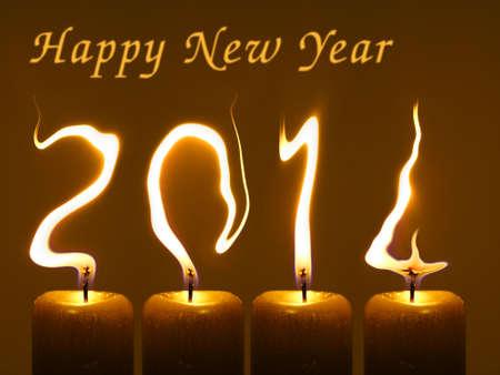 Gelukkig Nieuwjaar 2014 Gewijzigde foto van vier kaarsen Flames schrijven nummers 2014 Stockfoto