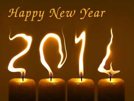 Happy new year 2014  Modified photo of four candles  Flames write numbers 2014