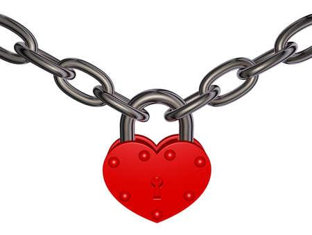 Illustratie van rood hart slot en ketting op witte achtergrond Thema van veiligheid, liefde