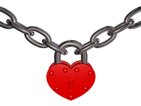 Illustration of red heart lock and chain on white background  Theme of security, love  Stock Photo