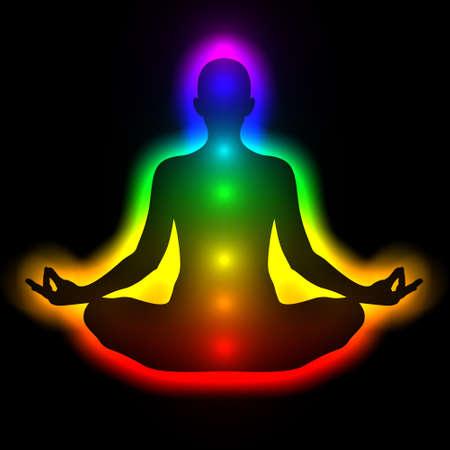 Illustratie van silhouet van de vrouw in meditatie met aura en chakra's Theme van helende energie, verbinding tussen het lichaam en de ziel Stockfoto - 30946150
