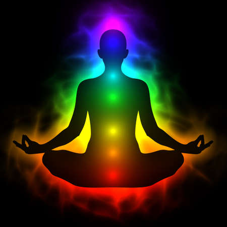 holistic health: Illustration of human energy body, aura, chakra in meditation