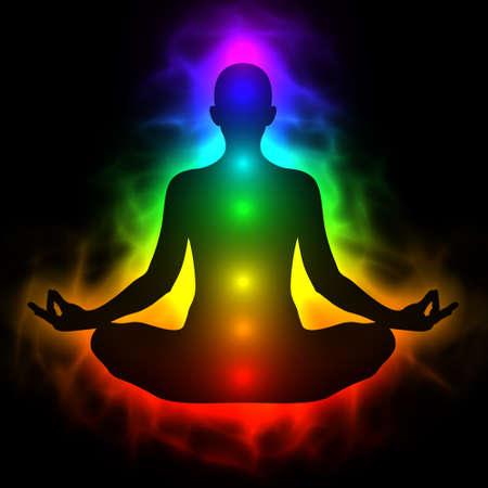 chakras: Ilustraci�n del cuerpo humano de energ�a, aura, chakra de la meditaci�n Foto de archivo