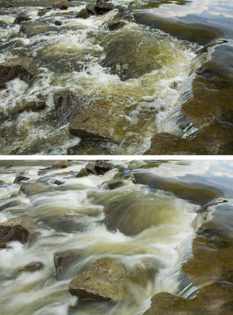 Foto van water stroming in de rivier met verschillende sluitertijden en verschillende onscherpte