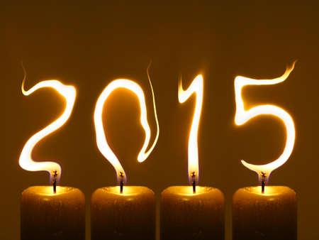 Frohes neues Jahr 2015 Flames schreiben Zahlen 2015.
