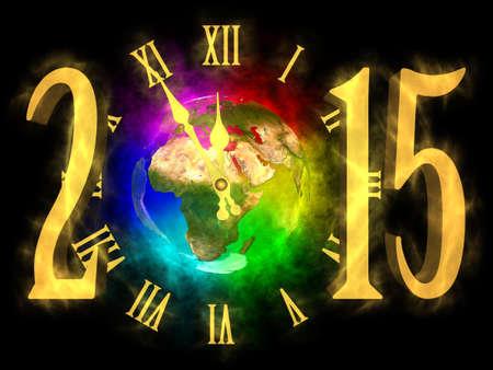 Gelukkig Nieuwjaar 2015 - regenboog planeet Aarde - Europa, Azië en Afrika Stockfoto