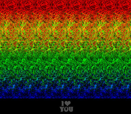 Valentine greeting I love You - stereogram (autostereogram) creates the illusion of a 3D image