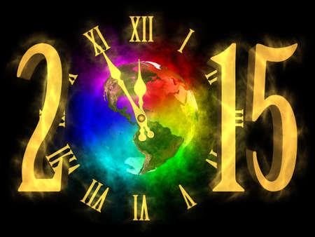 happy planet earth: Feliz a�o nuevo 2015 - arco iris planeta Tierra - Am�rica Foto de archivo