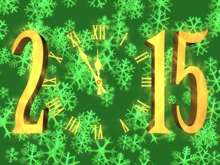 Illustratie gelukkig nieuw jaar 2015 met klok en sneeuwvlokken op achtergrond
