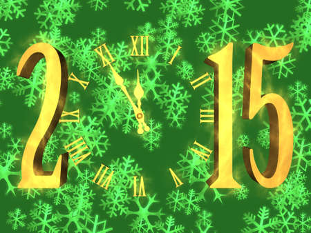 Illustration happy new year 2015 with clock and snowflakes on background
