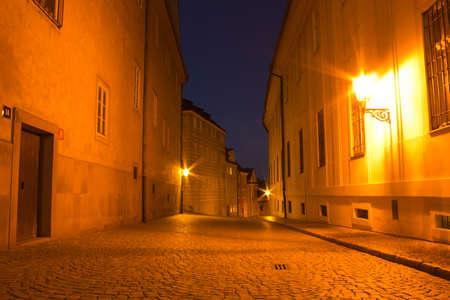 Night street in Prague city with nobody