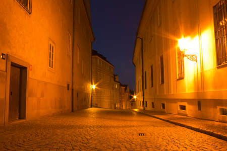 Night street in Prague city with nobody