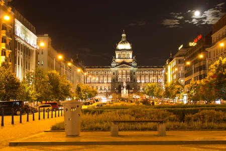 Prague city Wenceslas Square (Vaclavske namesti) in night Stock Photo
