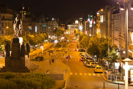 Prague city Wenceslas Square (Vaclavske namesti) in night Editorial