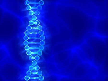 Blauw DNA (desoxyribonucleïnezuur) achtergrond met golven Stockfoto