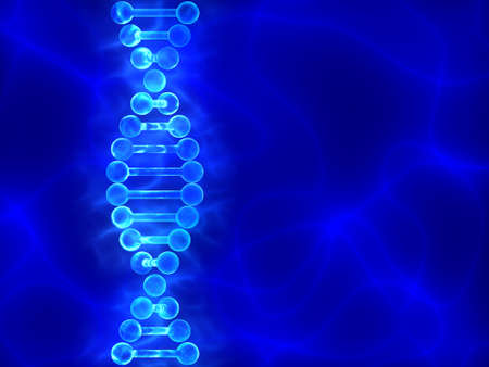 Blue DNA (deoxyribonucleic acid) background with waves