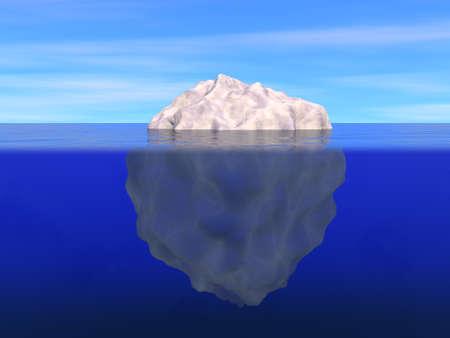 Ijsberg boven en onder het niveau van de oceaan Stockfoto