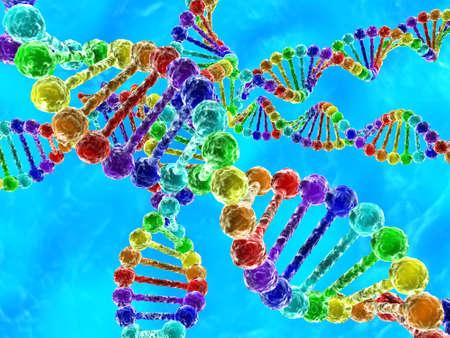 Illustratie van de regenboog DNA (desoxyribonucleïnezuur) met blauwe achtergrond Stockfoto
