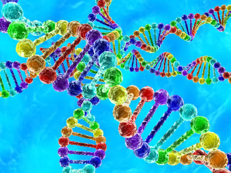 Illustration of rainbow DNA (deoxyribonucleic acid) with blue background illustration