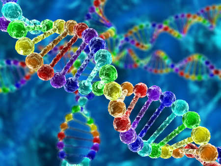 deoxyribonucleic: Rainbow DNA (deoxyribonucleic acid) with defocus on background