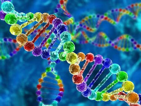 Rainbow DNA (Desoxyribonukleinsäure) mit Defokus auf Hintergrund