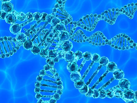 Illustration of blue DNA (deoxyribonucleic acid) with waves on background