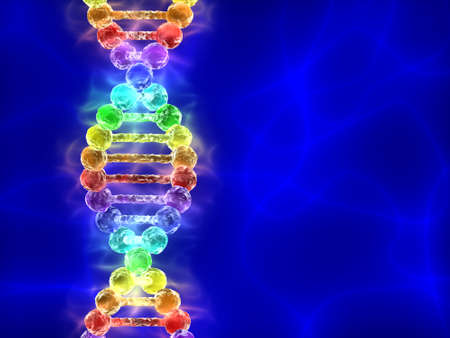 Rainbow DNA (deoxyribonucleic acid) with blue background photo