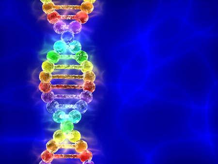 Rainbow DNA (desoxyribonucleïnezuur) met blauwe achtergrond Stockfoto