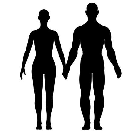 Silhouette of woman and man Stock Photo