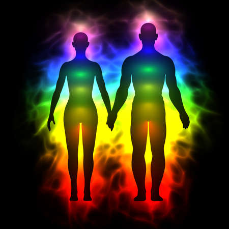healing chi spiritual: Rainbow aura of woman and man Stock Photo